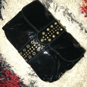 French Connection Black patent leather clutch